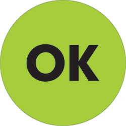 "2"" Circle - ""OK"" Fluorescent Green Labels"