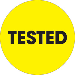"2"" Circle - ""Tested"" Fluorescent Yellow Labels"