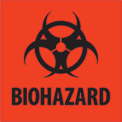 "2"" x 2"" - ""Biohazard"" Fluorescent Red Labels"