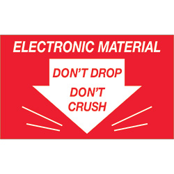 "3 x 5"" - ""Don't Drop Don't Crush - Electronic Material"" Labels"