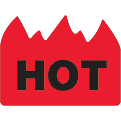 "1 1/2 x 2"" - ""Hot"" (Bill of Lading) Flame Labels"