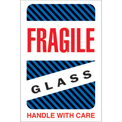 "4"" x 6"" - ""Fragile - Glass - Handle With Care"" Labels"