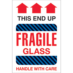 "4"" x 6"" - ""Fragile Glass - This End Up"" Labels"