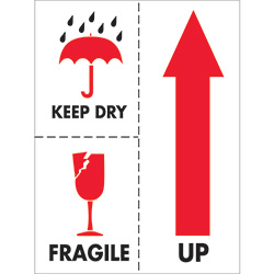 "3"" x 4"" - ""Keep Dry Fragile"" Labels"