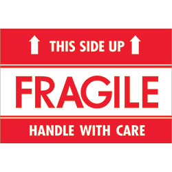 "2"" x 3"" - ""Fragile - This Side Up - HWC"" Labels"