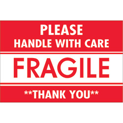 "2"" x 3"" - ""Fragile - Handle With Care"" Labels"