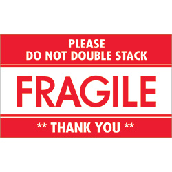 "3"" x 5"" - ""Fragile - Do Not Double Stack"" Labels"