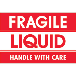 "2"" x 3"" - ""Fragile - Liquid - Handle With Care"" Labels"
