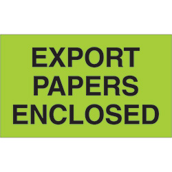"3"" x 5"" - ""Export Papers Enclosed"" Labels"