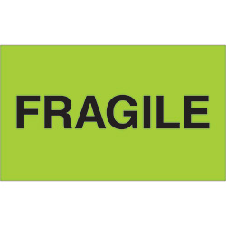"3"" x 5"" - ""Fragile"" (Fluorescent Green) Labels"