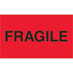 "3"" x 5"" - ""Fragile"" (Fluorescent Red) Labels"