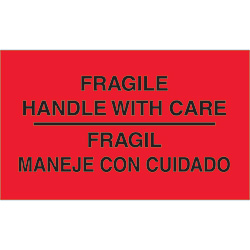 "3"" x 5"" - ""Fragile - Handle With Care"" Labels Bilingual"