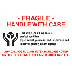 "4"" x 6"" - ""Fragile - Handle With Care"" Labels"