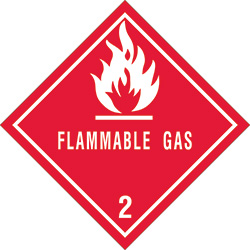 "4"" x 4"" - ""Flammable Gas - 2"" Labels"