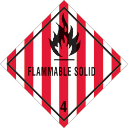 "4"" x 4"" - ""Flammable Solid - 4"" Labels"