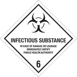 "4"" x 4"" - ""Infectious Substance - 6"" Labels"