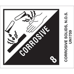 "4"" x 4 3/4"" - ""Corrosive Solids, N.O.S."" Labels"