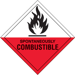 "4"" x 4"" - ""Spontaneously Combustible"" Labels"