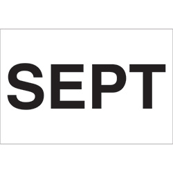 "2"" x 3"" White - ""SEPT"" Months of the Year Labels"