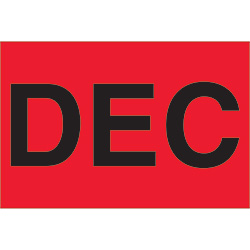 "2"" x 3"" Red - ""DEC""  Months of the Year Labels"