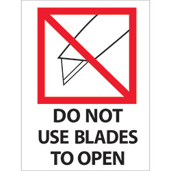 "3"" x 4"" - ""Do Not Use Blades to Open"" Labels"