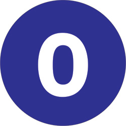 "2"" Dark Blue - ""0""  Number Labels"