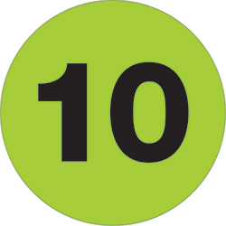 "3"" Circle - ""10"" (Fluorescent Green) Number Labels"