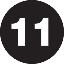 "3"" Circle - ""11"" (Black) Number Labels"