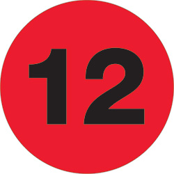 "1"" Fluorescent Red - ""12""  Number Labels"