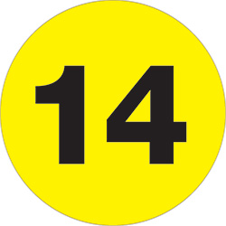 "3"" Circle - ""14"" (Fluorescent Yellow) Number Labels"