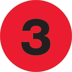 "1"" Fluorescent Red - ""3""  Number Labels"