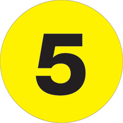 "2"" Yellow - ""5""  Number Labels"