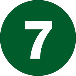 "2"" Dark Green - ""7""  Number Labels"