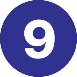 "2"" Dark Blue - ""9""  Number Labels"