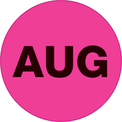 "2"" Pink - ""AUG""  Months of the Year Labels"