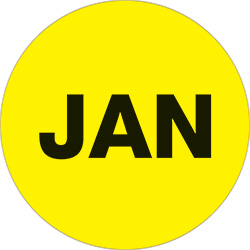 "1"" Yellow - ""JAN""  Months of the Year Labels"