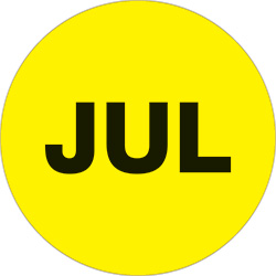 "1"" Yellow - ""JUL""  Months of the Year Labels"