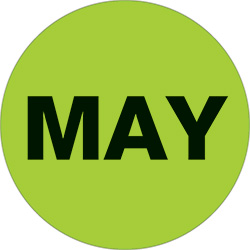 "1"" Green - ""MAY""  Months of the Year Labels"