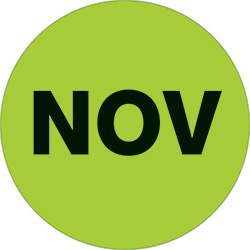 "1"" Green - ""NOV""  Months of the Year Labels"