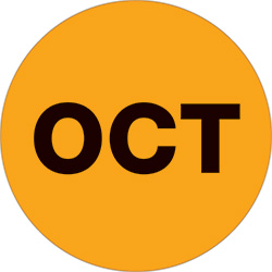 "1"" Orange - ""OCT""  Months of the Year Labels"