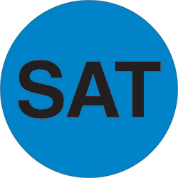 "1"" Blue - ""SAT"" Days of the Week Labels"