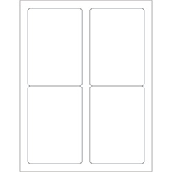 "3 1/2 x 5"" White Removable Rectangle Laser Labels"