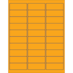 "2 5/8 x 1"" Fluorescent Orange Removable Rectangle Laser Labels"