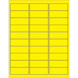 "2 5/8 x 1"" Fluorescent Yellow Removable Rectangle Laser Labels"