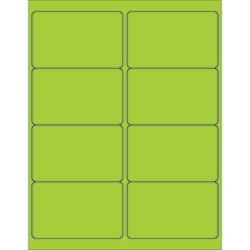 "4 x 2 1/2"" Fluorescent Green Rectangle Laser Labels"