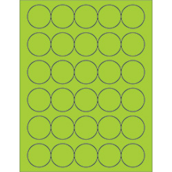 "1 1/2"" Fluorescent Green Circle Laser Labels"