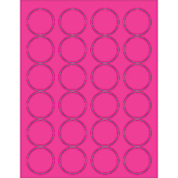 "1 5/8"" Fluorescent Pink Circle Laser Labels"