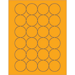 "1 2/3"" Fluorescent Orange Circle Laser Labels"