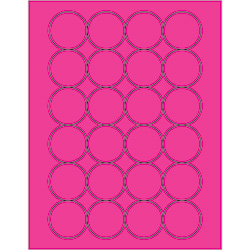 "1 2/3"" Fluorescent Pink Circle Laser Labels"