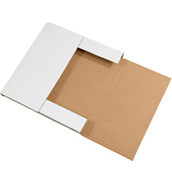 "12 1/2"" x 12 1/2"" x 1"" White Corrugated Bookfolds"